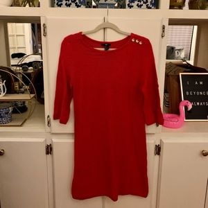 Red Ribbed Sweater Dress with Gold Button Details